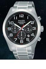 Pulsar PT3661X1 Cronografo Da Uomo SS quadrante nero WR 100M, 2Yr di guar RRP £ 140