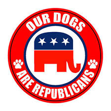 "OUR DOGS ARE REPUBLICANS 5"" REPUBLICAN STICKER"