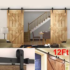 Heavy Duty 12FT Sliding Barn Door Track Hardware Kit Double Door Hardware Roller