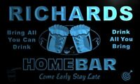 p1212-b Richards Home Bar Beer Family Name Neon LED Sign