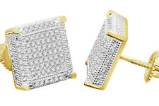 .55 CARAT YELLOW GOLD FINISH MENS WOMENS 12mm 100% REAL DIAMONDS EARRINGS STUDS