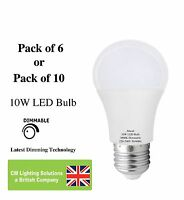 9W Dimmable LED Globe A60 light bulb E27 Edison Screw 850+ Lumens Warm White
