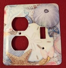 SEASHELLS COMBINATION OUTLET & SINGLE LIGHT SWITCH PLATE