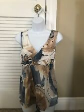 Ladies sleeveless top. sS/M. From Italy.. Tan/white/blue colors