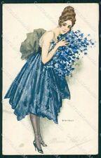 Artist Signed Bianchi Glamour Fashion Lady serie 1 PIEGHINA cartolina XP8177