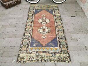 Old Caucasian Antique Low Pile Handmade Wool Rug, 3.7x7.5 ft Area Carpet
