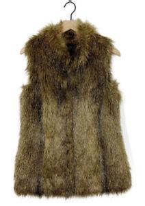 NWOT Luxe Rachel Zoe Faux Fur Vest w Hook and Eye Closure In Coyote (Brown) Sz L