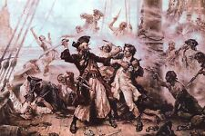 Capture of the Pirate, Blackbeard, 1718, Edward Teach Ocracoke Bay NC - Postcard