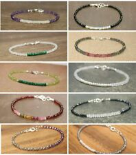 Natural Faceted Mixed Gemstone Designer 10 Bracelet 925 Silver Clasp Christmas