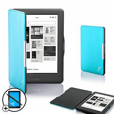 Leather Blue Smart Shell Case Cover for Kobo Glo HD eReader + Screen Prot Stylus