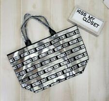 Victoria's Secret Tote Bag Black Silver Sequin Stripe Zip Weekender Logo Bling