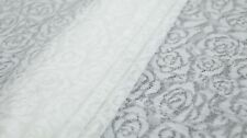 LOOSE KNIT LACE FABRIC - ROSE DESIGN - OFF WHITE