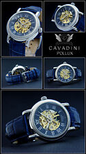 Pollux Cavadini Unisex Hand Wound Watch Skeletonized Glass Bottom