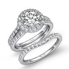 Bridal Set Round Diamond Engagement Halo Ring GIA F VS2 14k White Gold 3.1ct