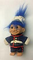 "Vintage Russ 5"" Troll Doll - Royal Navy Uniform Soldier Officer - Blue Hair"