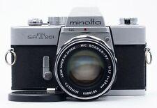 MINOLTA SR-T 201 35mm FILM SLR CAMERA BODY WITH MC ROKKOR-PF 55mm F/1.7 LENS