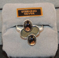 Sterling Silver 8x6mm Double Smokey Quartz Ring Size 7 1/2 (9911)