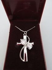 STUNNING SILVER RELIGIOUS CZ FAITH HOPE LOVE INSPIRATIONAL CROSS PENDANTNECKLACE