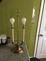 "VINTAGE STIFFEL  BRASS 2-WAY CANDLE LIGHT FRENCH BOUILLOTTE 23"" TABLE LAMP."