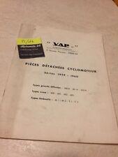Cyclomoteur VAP 1959 1960 parts list catalogue pièces détachées RARE