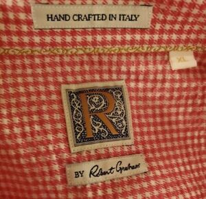 R by Robert Graham Checks Shirt XL in Salmon Made in Italy $298