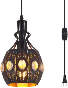 YLONG-ZS Hanging Lamps Swag Lights Plug in Pendant Light,Retro Style,Vintage and
