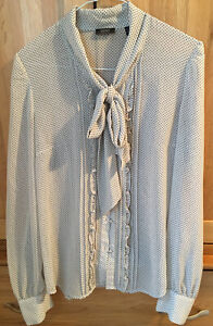Esprit Ladies Pussy Bow Long Sleeved Blouse, Cream/dark Polka Dots - Size 12