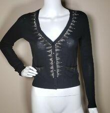 Antik Batik black 100% cashmere v-neck button-up with beads size 36 extra small