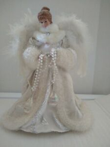 Angel Tree Topper with Feathers, Beads and Crystal /Vintage