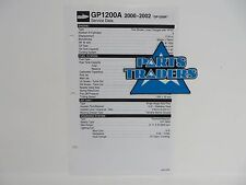 Yamaha Quick Reference Service Manual Data Spec Sheet GP1200 GP1200R 2000-2002