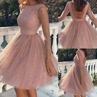 Women's Sequins Swing Midi Dress Backless See Though Party Gown Cocktail Dress