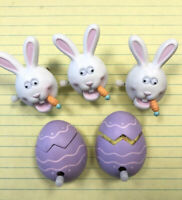HALLMARK LOT OF 5 VINTAGE Wind Up EASTER PINS Rabbits & Chicks-1987 & 1990