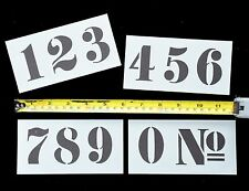 NUMBERS STENCIL number FRENCH STYLE 50mm high on 4 Tough Separate Mylar Sheets