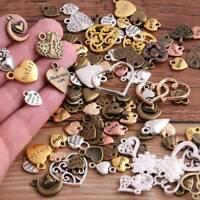 50g/pack Vintage Metal Mixed Hearts Retro Love Pendant Jewelry Making DIY Set ~
