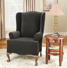 Stretch black pinstripe pin stripe one piece wing Chair Slipcover by sure fit