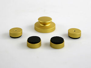 300g Record Weight Vinyl Disk Weight Puck And 4x Stand Feet Gold Anodized