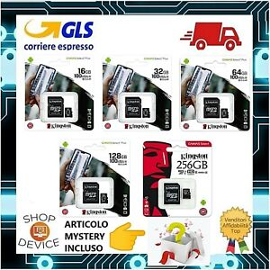 Kingston Micro SD 16 32 64 128 256GB Class10 - 100MB/s Memoria Esterna ORIGINALE