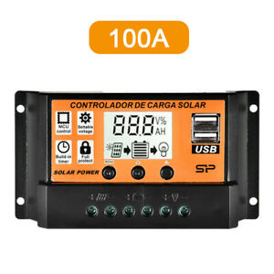 100A Solar Panel Charge Controller 12V 24V Regulator Auto Dual USB Mppt-Battery