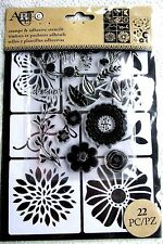 Flowers & Bugs 22-pc Art-C Clear Acrylic Stamp & Adhesive Stencil Set 26882 NEW!