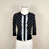 White House Black Market XS Polka Dot Cardigan Sweater Ruffled 3/4 Sleeve