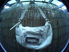 guess white handbag shoulder bag purse carnation style silver logo hardware