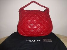 Chanel Hidden Chain Hobo Tote Shoulder Bag Red Leather Excellent Condition