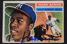 Hank Aaron Braves HOF 1956 Topps #31 Autograph Card 9.5 Signature JSA COA 17G