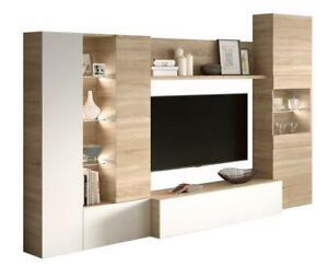 Parete attrezzata con LED mobile TV sala pranzo bianco rovere salotto soggiorno