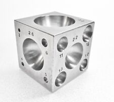 Steel Dapping Block 45mm Square Cube 21 Precise Spheres 3mm - 33mm Made in Italy
