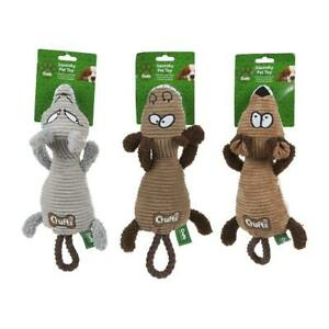 Crufts Squeaking Grinning Plush Corduroy Squeaky Pet Dog Toy - Assorted colours