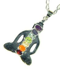 BUTW Silver Plated Budha 7 Chakra  Facet Gemstone Accents Pendant Necklace 3377D
