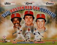 Rice Lynn Evans Autographed 16x20 1975 Boston Red Sox Outfield Photo- JSA W Auth