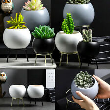 Ceramic Succulent Cactus Planter Flower Pots With Iron Stand Home Art Vase Decor