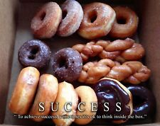 Doughnut Donut Shop Motivational Poster Art Print Success Bakery Coffee MVP563